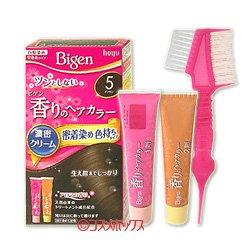 画像1: ●送料無料 ビゲン 香りのヘアカラー クリーム 白髪染め 早染めタイプ 5 ブラウン Bigen hoyu