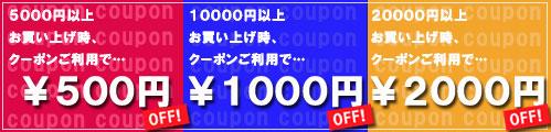 金額別クーポン発行中!